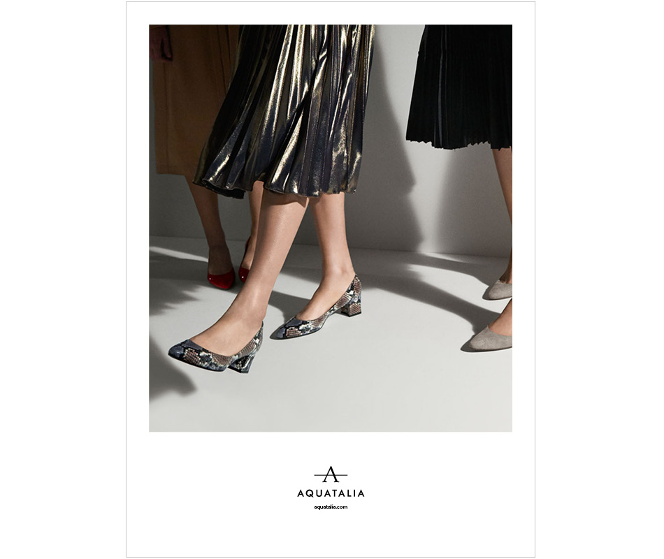 Models wearing heels from Aquatalia 2016 spring campaign.