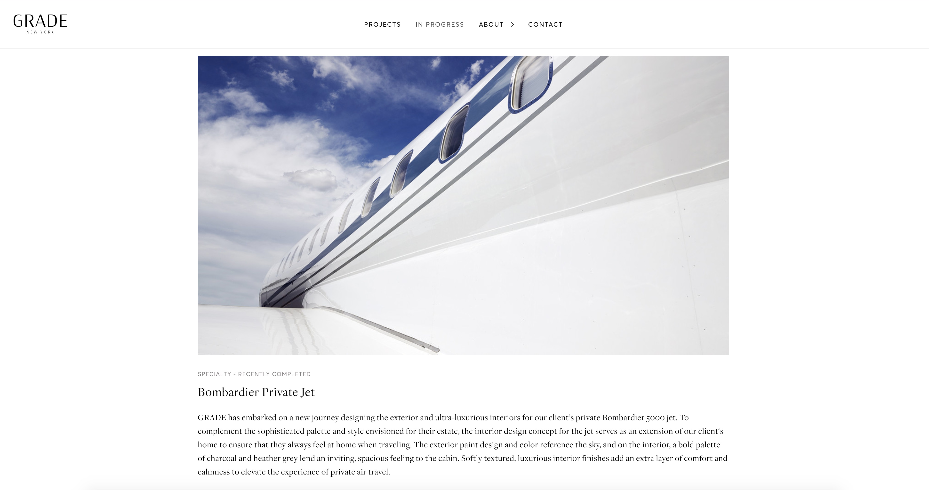 News page of Grade New York's website that was designed and developed by DTE studio.