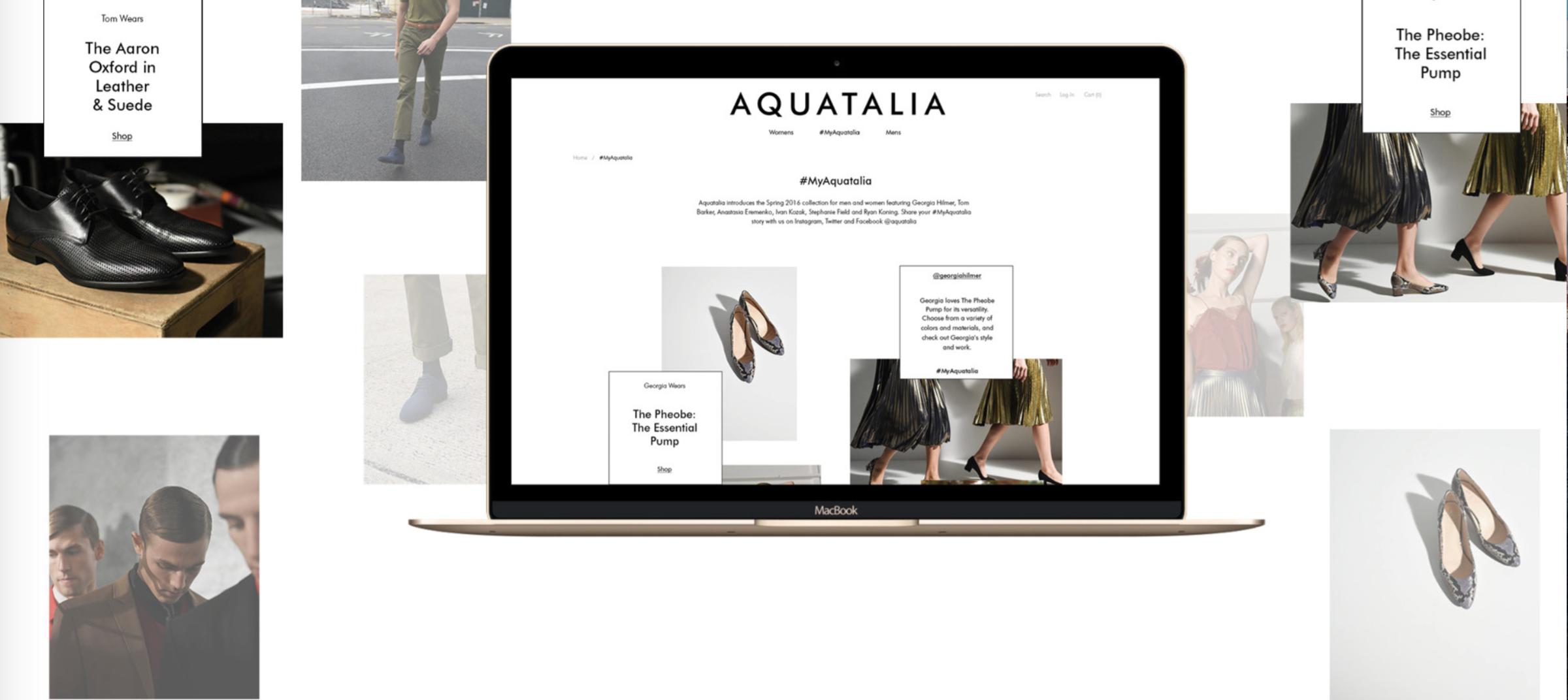 Creative e-commerce service by DTE Studio for women and men's designer footwear, Aquatalia