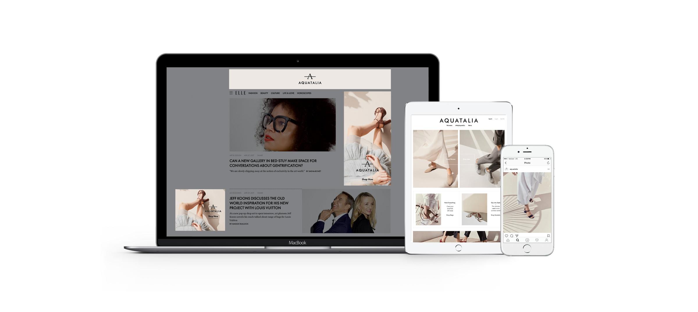 Digital platforms redesigned by DTE Studio for luxury footwear brand Aquatalia.